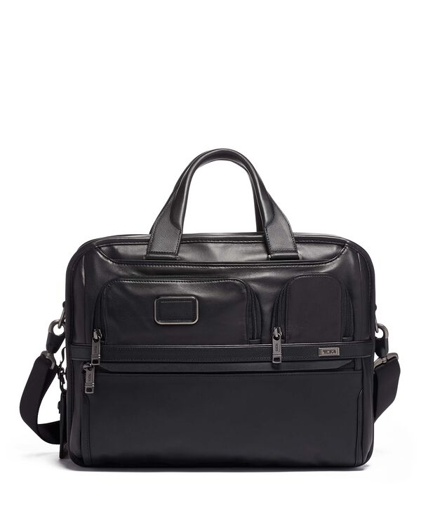 Alpha 3 Expandable Organizer Laptop Brief Leather